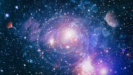 Star field in deep space many light years far from the Earth. 스톡 콘텐츠