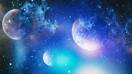 space: Stars of a planet and galaxy in a free space. Stock Photo