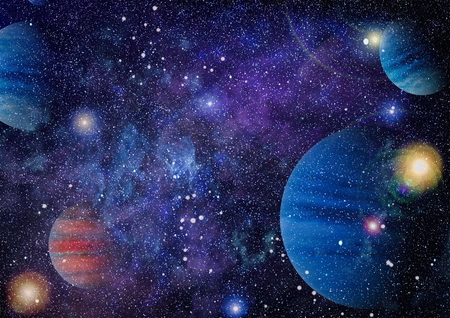 Nebula and galaxies in space Stock Photo