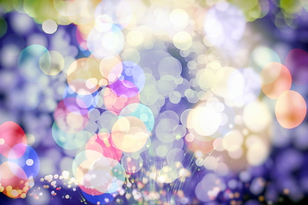 Background With Natural Bokeh And Bright Golden Lights. Vintage Magic Background With Color Stock Photo