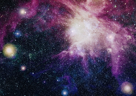 Stars of a planet and galaxy in a free space. Elements of this image. Archivio Fotografico