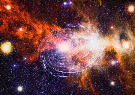 Stars of a planet and galaxy in a free space. Elements of this image. Stock Photo
