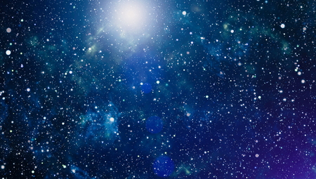 Panoramic looking into deep space. Dark night sky full of stars. The nebula in outer space. 스톡 콘텐츠