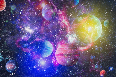 Fiery explosion in space. Abstract illustration of universe.