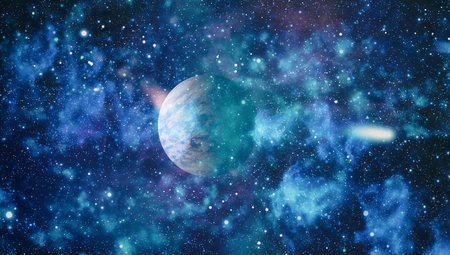 Futuristic abstract space background. Night sky with stars and nebula.