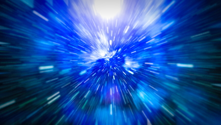 Abstract of warp or hyperspace motion in blue star trail. Banque d'images