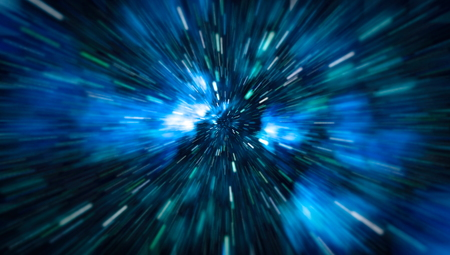 Abstract of warp or hyperspace motion in blue star trail. Stock Photo