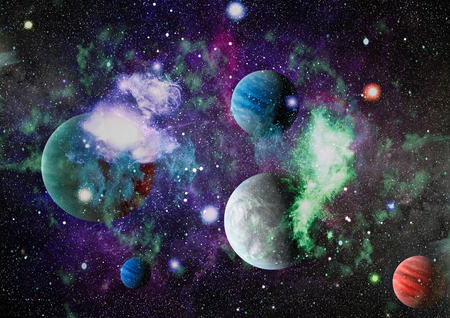 Stars of a planet and galaxy in a free space. Foto de archivo