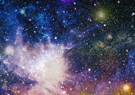 Stars of a planet and galaxy in a free space. Stock Photo