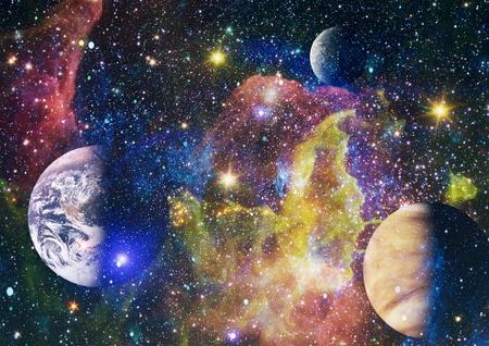 Fond de l'espace abstrait futuriste. Ciel nocturne avec étoiles et nébuleuse.