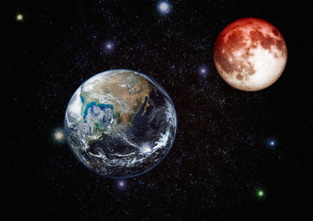 Beautiful Earth and the red Moon Foto de archivo