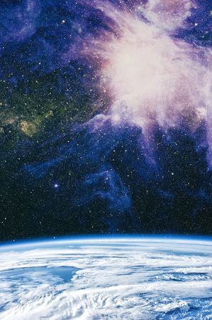 A view of space from the earth. Colorful deep space. Universe concept background. Stock Photo