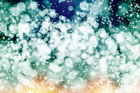 Winter blue sky with falling snow, snowflake. Holiday Winter background for Merry Christmas and Happy New Year.