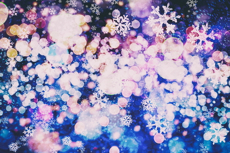 Winter blue sky with falling snow, snowflake. Merry Christmas and Happy New Year