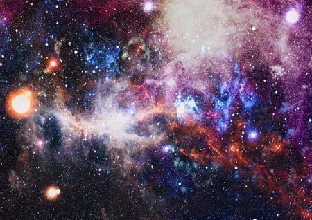Planets, stars and galaxies in space.