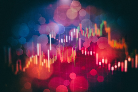 Stock market graph on led screen. Finance and investment concept. Selective focus.