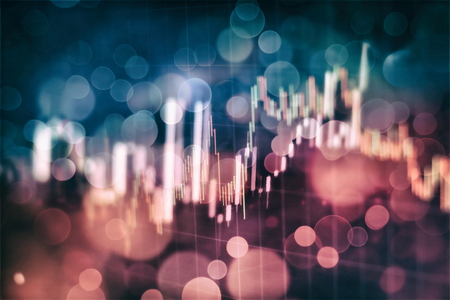 Forex glowing graphs of different colors showing financial market situation on abstract digital background.