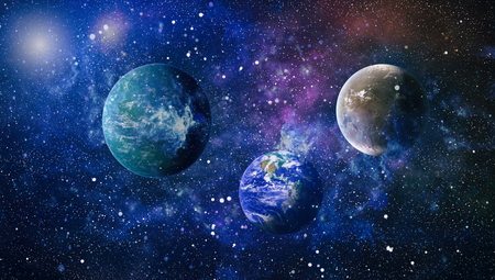 planets, stars and galaxies in outer space showing the beauty of space exploration. Stok Fotoğraf
