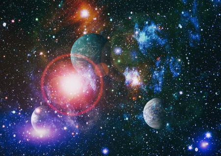 Star field and nebula far from planet Earth. Stockfoto