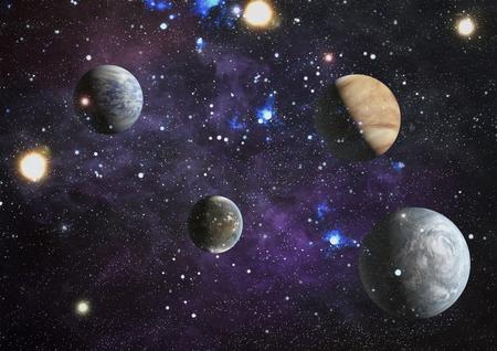 Star field and nebula far from planet Earth. Фото со стока