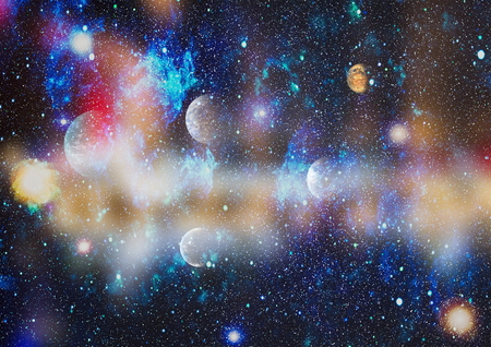 Far being shine nebula and star field against space. Banque d'images