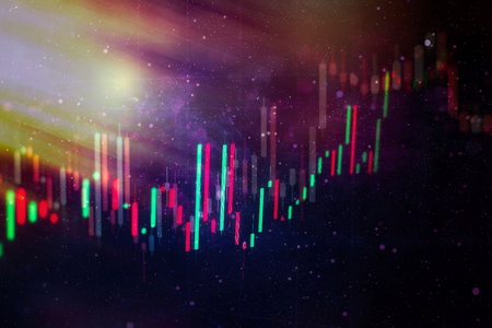 Business success and growth concept.Stock market business graph chart on digital screen.Forex market, Gold market and Crude oil market . Stock Photo