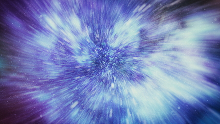 Exploding and expanding movemen. Loop animation with wormhole interstellar travel through a blue force field with galaxies and stars