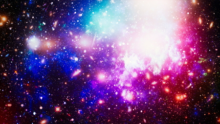 Space background with red nebula and stars. Dreamscape galaxy.