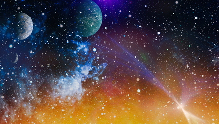 Nebula night starry sky in rainbow colors. Multicolor outer space. Deep space many light years far from planet Earth.