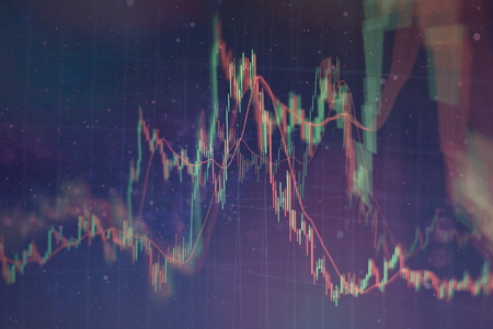 Candle stick graph chart of stock market investment trading. The Forex graph chart on the digital screen