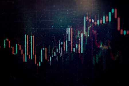 Candle stick graph chart of stock market investment trading. The Forex graph chart on the digital screen Standard-Bild - 117811358