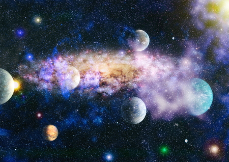 Planets, stars and galaxies in outer space showing the beauty of space exploration. Stock Photo