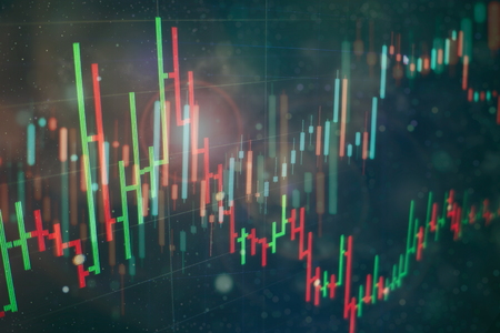 financial instruments with various type of indicators including volume analysis for professional technical analysis on the monitor of a computer. Fundamental and technical analysis concept.