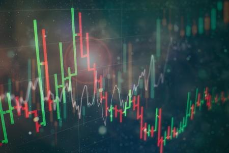 Grafico del grafico del bastone della candela del commercio di investimento del mercato azionario. Il grafico grafico Forex sullo schermo digitale.