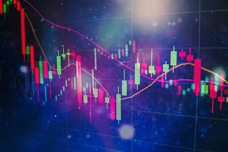 financial instruments with various type of indicators including volume analysis for professional technical analysis on the monitor of a computer. Fundamental and technical analysis concept. 版權商用圖片 - 118014856