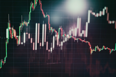 Abstract glowing forex chart interface wallpaper. Investment, trade, stock, finance and analysis concept. Standard-Bild - 118882637