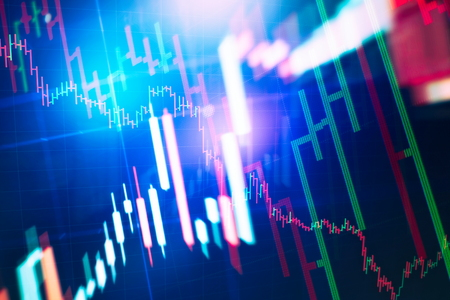 Charts of financial instruments with various type of indicators including volume analysis for professional technical analysis on the monitor of a computer. Fundamental and technical analysis concept. 版權商用圖片