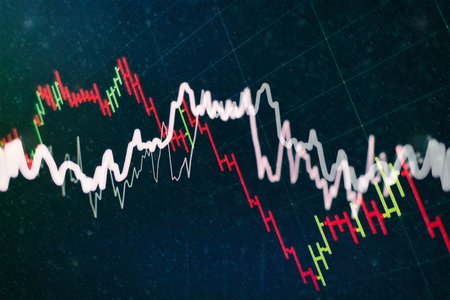 Charts of financial instruments with various type of indicators including volume analysis for professional technical analysis on the monitor of a computer. Fundamental and technical analysis concept. Banque d'images