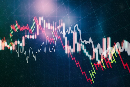 Abstract glowing forex chart interface wallpaper. Investment, trade, stock, finance and analysis concept. Standard-Bild - 118882731