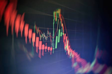 Data on a monitor which including of Market Analyze. Bar graphs, Diagrams, financial figures. Forex chart. 写真素材