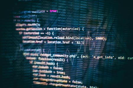 Programming source code HTML for Website development. Server logs analysis. Foto de archivo - 120661985