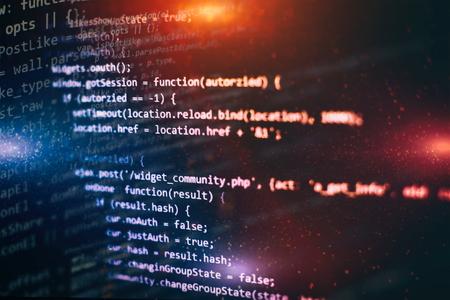 Programming source code HTML for Website development. Server logs analysis. Foto de archivo - 120661945
