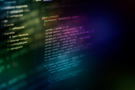 Programming source code HTML for Website development. Server logs analysis. Foto de archivo - 120663434