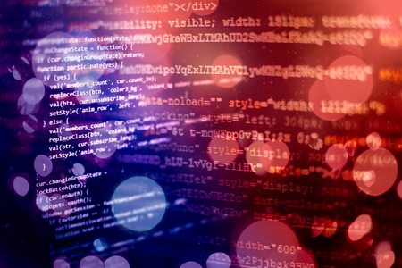 Programming source code HTML for Website development. Server logs analysis. Foto de archivo - 120669424