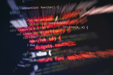 Running Computer data  WWW programming. Coding script text on screen. Notebook closeup photo.
