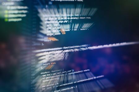 Website HTML Code on the Laptop Display Closeup Photo. Desktop PC monitor photo. Imagens - 120673637