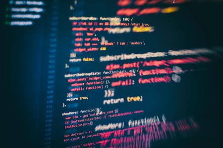 Website HTML Code on the Laptop Display Closeup Photo. Desktop PC monitor photo. 写真素材