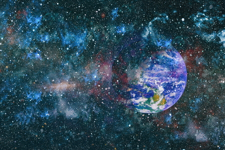 Beautiful night sky, star in the space. Collage on space, science and education items.