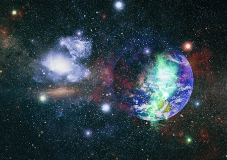 Star field and nebula in deep space many light years far from planet Earth. Banco de Imagens