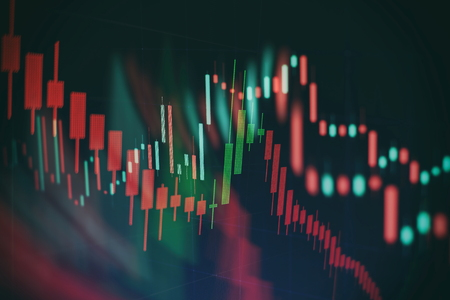 Abstract glowing forex chart interface wallpaper. Investment, trade, stock, finance and analysis concept. Standard-Bild - 122136340
